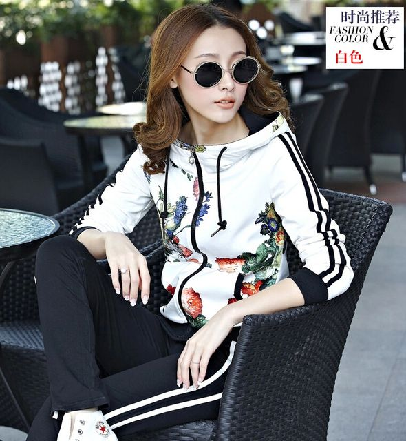 spring 2017 latest recreational suit long sleeve hooded trousers printing loose big yards suits ladies fashion suits women G1192