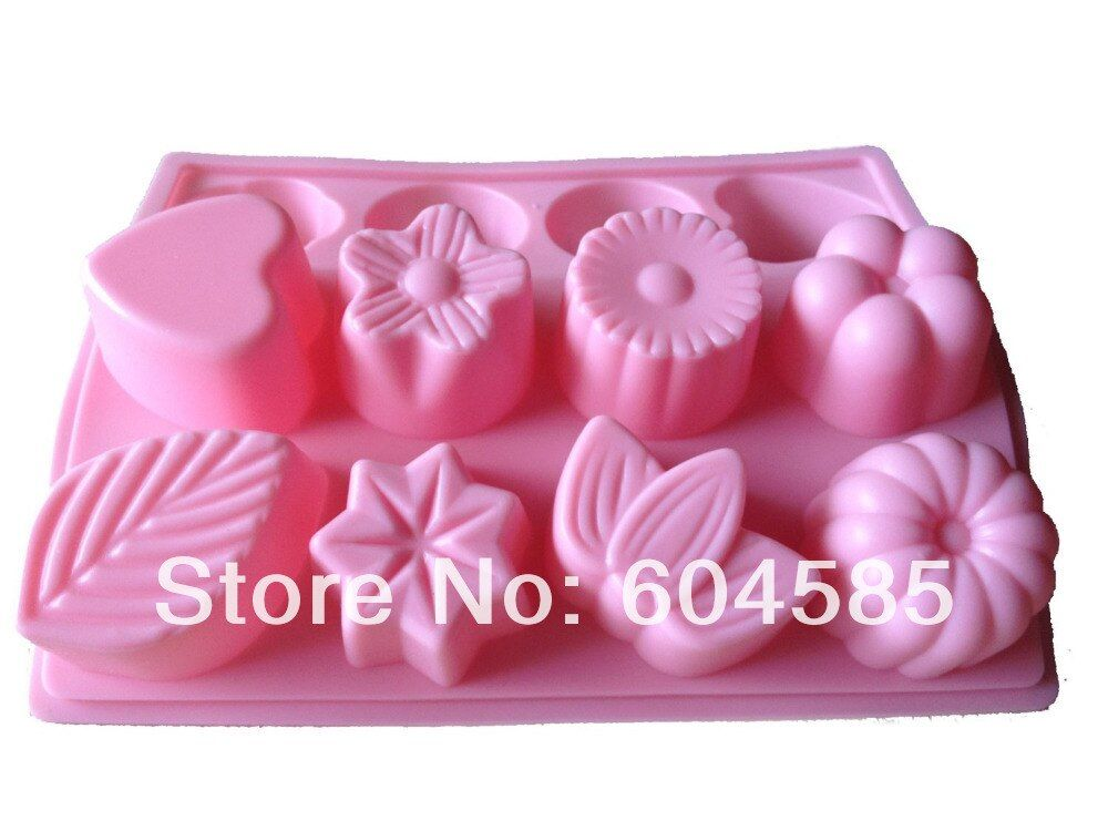"3D DIY LARGE "" ASSORTED FLOWERS & LEAVE "" "" HEART "" SHAPE SILICONE MOULD ice cube tray for cake cookie chocolate soap making"