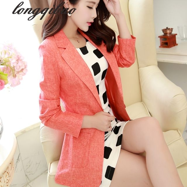 Korean version of the new spring and linen suit Slim thin female wild long-sleeved shirt jacket tide a buckle