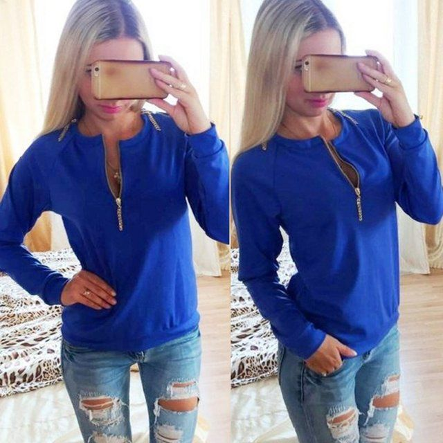 Casual Ladies V-Neck Long Sleeve Hoodie Women Winter Jumper Pullover TopsY8664