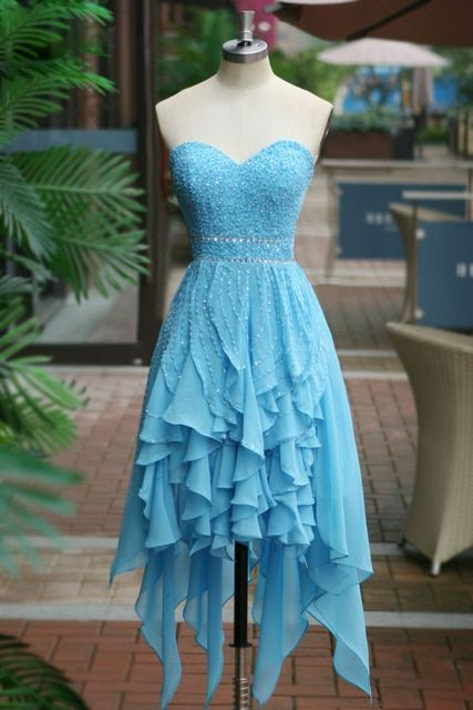Vestidos De Baile Curto Sweetheart Blue Short Beaded Chiffon Homecoming Dresses 2017 8th Grade Prom Dresses