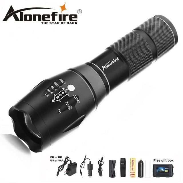 Alonefire E17 8000LM T6 L2 V6 LED Flashlight Tactical flashlight Ultra Bright Torchlight Zoomable zoom led AAA 18650 Work light