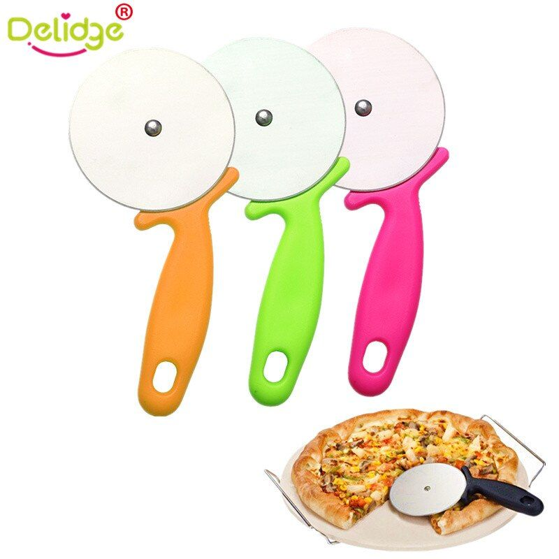 Delidge 1 pc Round Shape Pizza Cutter Stainless Steel  Pizza Wheels Cutting Knife Cake Bread Slicer Baking Pizza Tools