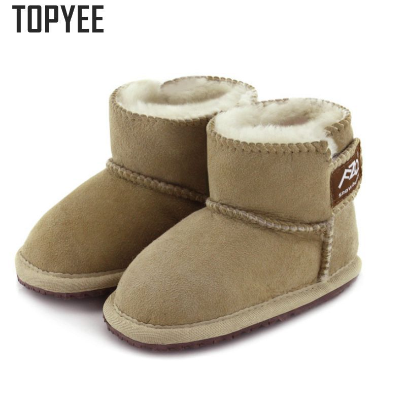 2017 New Children Boots For Infant Baby Boys Girls Warm Winter Shoes  Sheepskin Wool Nature Suede Flat Infant Prewalkers