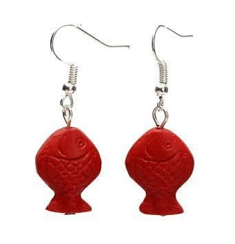 Perfect Red Carved Cinnabar Earrings, Fashion Women's Carved Lacquerware Jewelry,Red Fish 925 Silver Dangle Earring .C-25