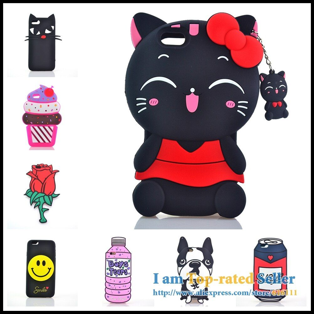 Bottle Ice Cream Lick Me No Face Man Cat Rose Silicone Phone Cases Covers For iPhone 5 5s SE 6 6s 7 8 6 Plus 7 Plus 8Plus