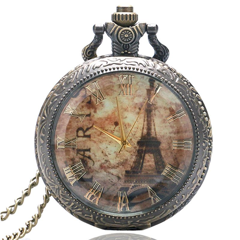 Clear Glass Antique Vintage Retro Eiffel Tower Rome Number Quartz Pocket Watch Necklace Pendant Men Women Clock