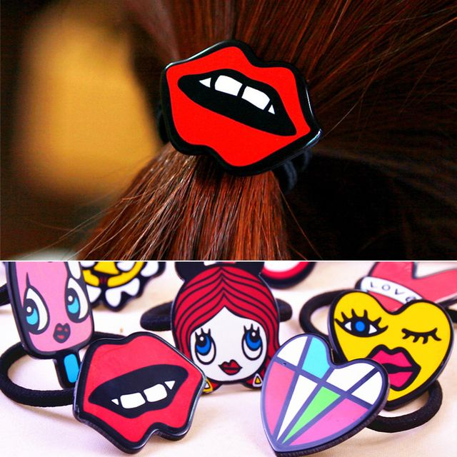 New 2017 Cute Graffiti Love Lips Candy Hair Rope Head Flower Hair Accessories Headdress Korea Rubber Band Hair Rope Ring