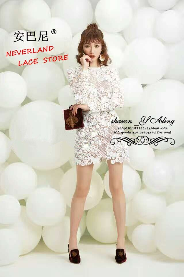 2017 New S*P Handmade White Sexy Flower Lace  Backing Runway Elegant  Hollow Out mini