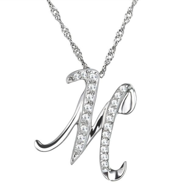 10pcs/lot Fashion Simple Crystal Letter M Pendant Necklace Letters Necklace with free Clavicle Chain Jewelry