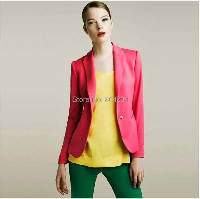 2016 New Hot Pink  Blazer Women Fashion Brand Coats Outerwear OL Jacket Solid Color Blazer Suit Tops for Women Ladies