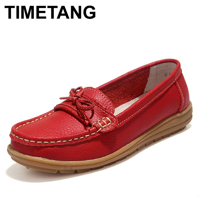 TIMETANG Shoes Woman 2017 Genuine Leather Women Shoes Flats 4Colors Loafers Slip On Women's Flat Shoes Moccasins #WD2856