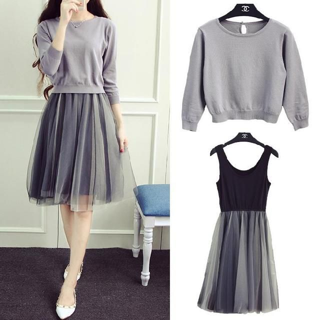 De Dove 2016 Korean version of the new sweater knit two-piece suit dress gauze tutudresses suit