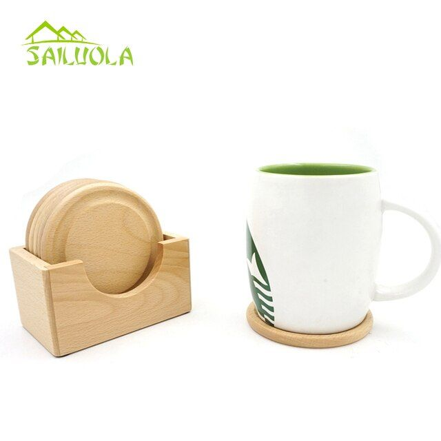 6pcs/set Beech Wood Coaster Set Tea Coffee Cup Mat Waterproof Mini Wooden Pallet Coasters