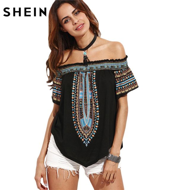 SHEIN Women Summer Tops 2016 Ladies Multicolor Print Short Sleeve Off The Shoulder Asymmetrical Vintage Blouse