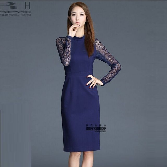 Spring 2016 New Temperament Lace Hollow Out Joining Together Cultivate One's Morality Show Thin Blue Render Women Dress