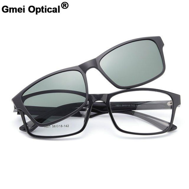 Gmei Optical 1601 Urltra-Light TR90 Eyeglasses Frame with Polarized Clip-on Sunshades for Women and Men Eyewear