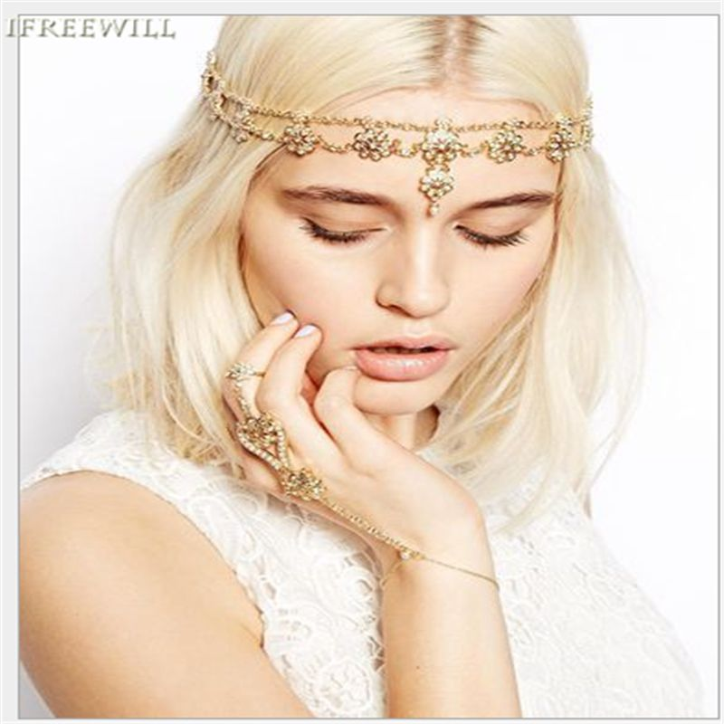 Hair Decoration Indian Head Jewelry IFREEWILL Boho Beaded Head Piece Women Head Chain Hair Jewelry rhinestone hair