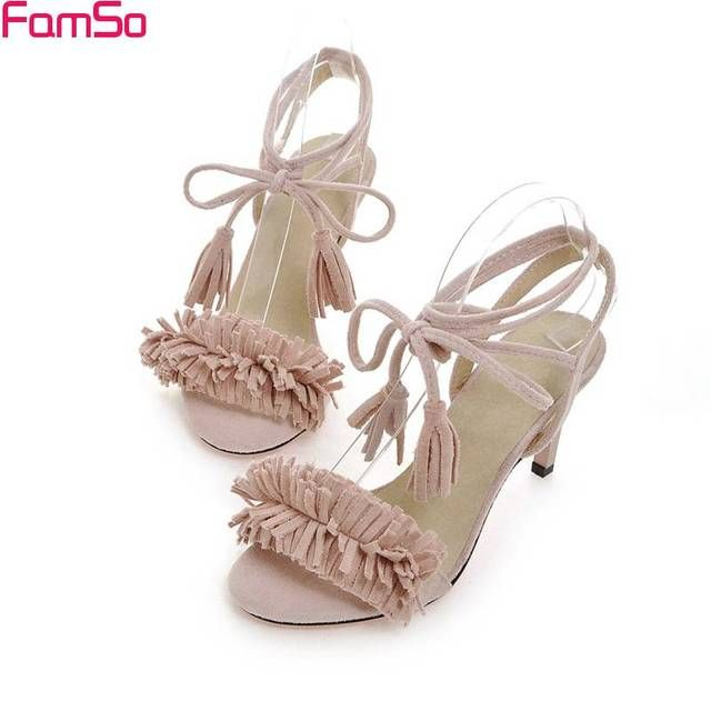 FAMSO Free shipping 2017 Shoes Women Sandals Shoe High Heels Wedding Pumps Tassel Party Pumps Summer Women's Sandals PS2470