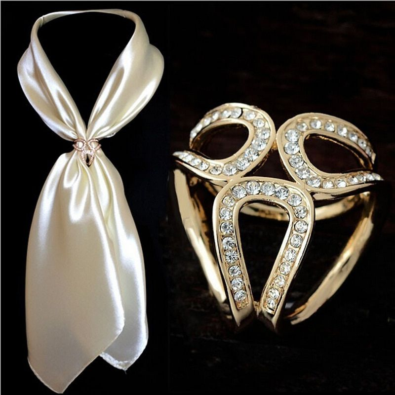 2019 Newst Gold Silver Flowers Scarf Buckle Wedding Brooch Christmas Pins Crystal Holder Silk Scarf Jewelry