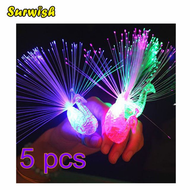 Surwish 5Pcs Peacock Finger Light Colorful LED Light-up Rings Party Gadgets Kids Intelligent Toy for Brain Development