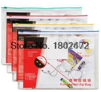 12 Pcs/Lot Deli 5526 PVC-A4 Transparent zipper bags file paper folders for documents organizer office school supplies stationery