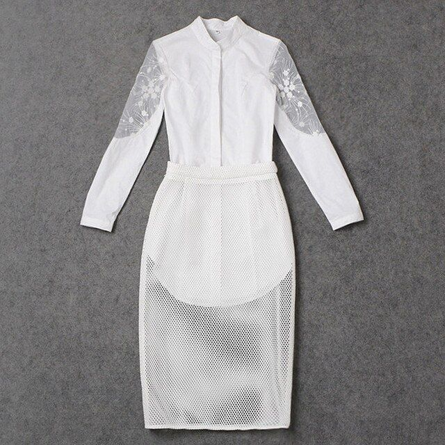 2016 Autumn Fashion Clothing Set Two Piece Skirt and Top Embroidery Lace Patchwork White Shirt + Mesh Skirt Fashion Set 4069