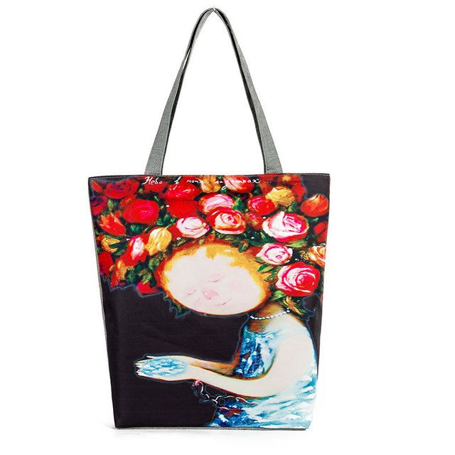 Rose Flower Grland Cartoon Girl Printing Canvas Tote Women Casual Handbag Teenager Girl Female Large Capacity Daily Shopping Bag