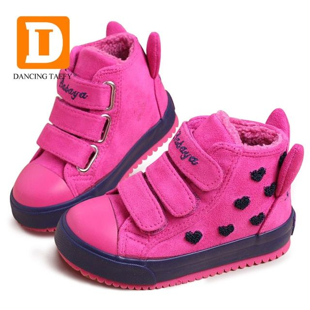 Winter Rubber Girls Boots Fashion Warm Children Shoes Girls Flock Leather Plush Platform Flat Sneakers New 4 Colors Kids Boots