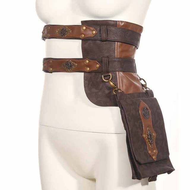 Corzzet Brown Gothic Rock Motorcycle Bags PU Leather Steampunk Waist Bag Pack Vintage Women Corset Halloween Costume Accessories