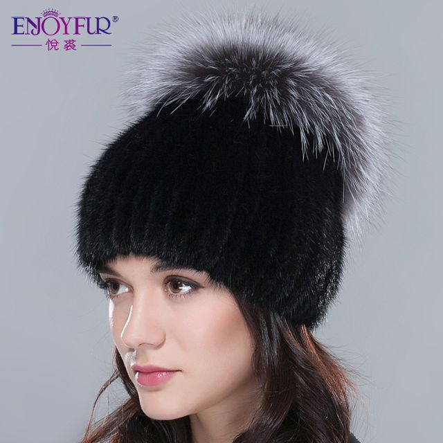 Russia winter hats for women genuine mink fur hat with whole silver fox fur top 2017 fashion elegant beanies high-end female cap
