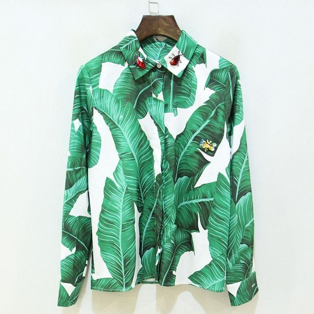 2017 Spring Summer Designer Blouses Women's High Quality Elegant Long Sleeve Green Leave Printed Beading Insect Shirt S-XL