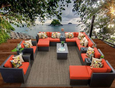 Sigma Outdoor Living Furniture Luxury Sofa Sets17 Piece Wicker Seating Group