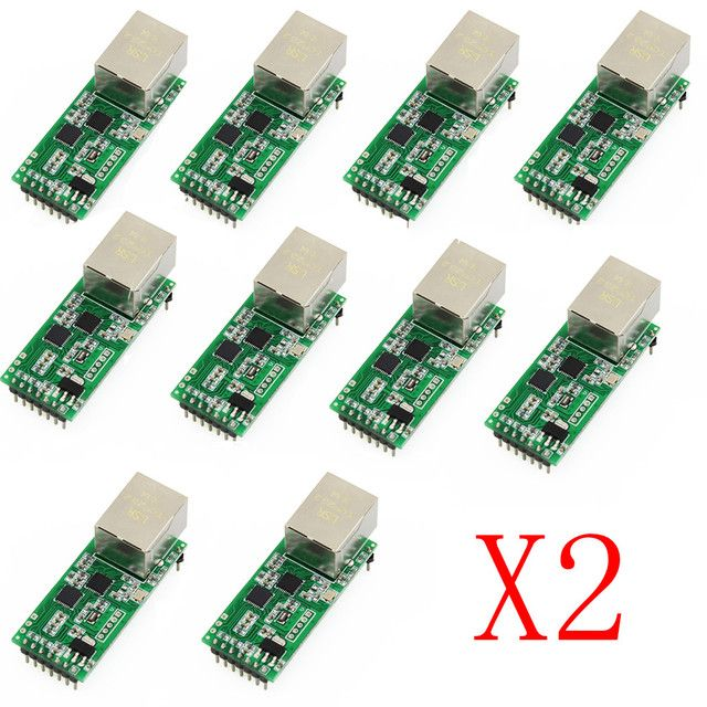 Q18042-20 20PCS USR-TCP232-T2 Tiny Serial Ethernet Converter Module Serial UART TTL to Ethernet TCPIP Module