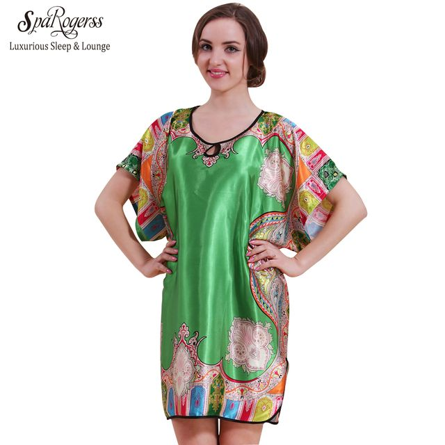SpaRogerss Big Size Women Nightgown 2017 Top Promotion Summer Faux Silk Robe Sleep Lounge Satin Bathrobe Ladies Sleepshirt 58060