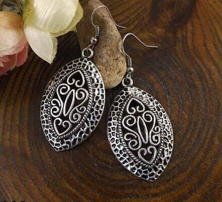 New Arrival Bohemia Vintage Jewelry National elements Tibetan Silver Carving Hollow Retro Drop pendant Earring for Women  MK-012