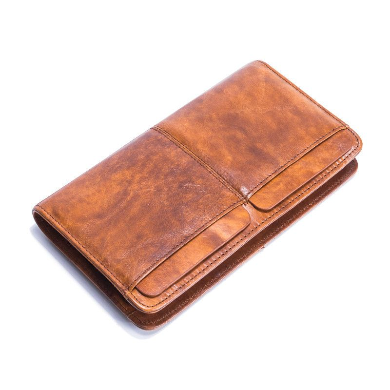 Genuine Leather Men's Wallet with Zipper Long Wallets Purse Card Holder Clutch Bag for Men