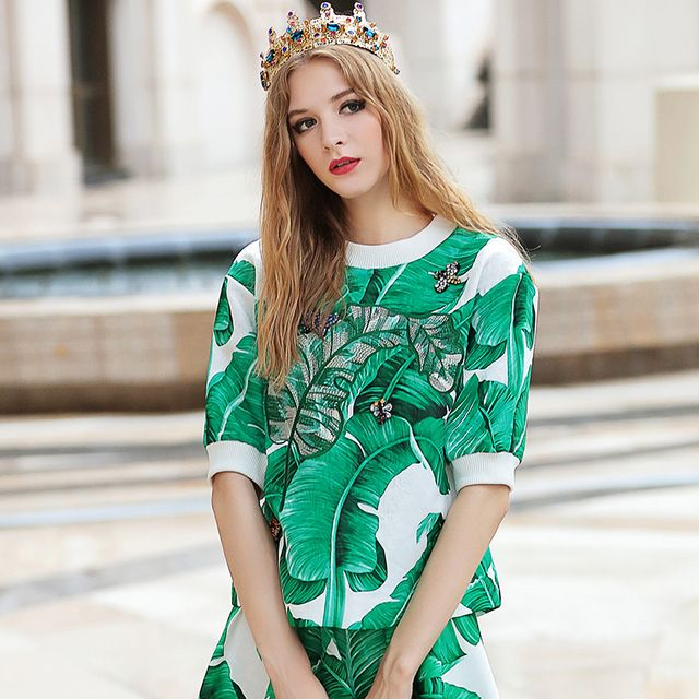 2016 Spring Autumn Runway Fashion Women Green Leaves Print T-Shirt Embroidery Leave Shape Beading Jacquard Tops R027