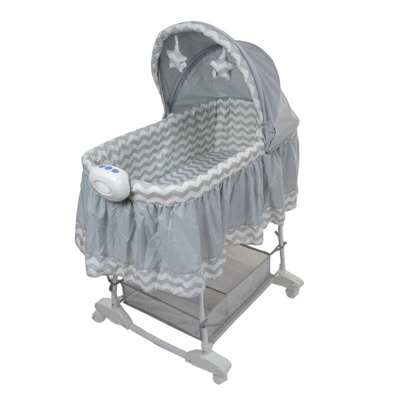 newborn baby cradle, princess baby bassinet bed with 4 universal wheels, baby rocking crib can push anywhere, musical baby bed