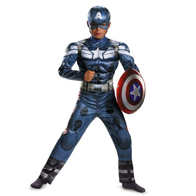 Genuine Boys Captain America Costume Movie 2  Muscle Anime Superhero Superman Cosplay Avengers Halloween Costumes For Kids
