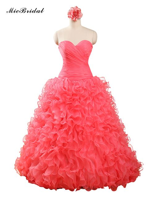 MY-172 Real PIcture Popular Quinceanera Dresses Coral Color Dress Ball Gown Ruffles Organza Crystals Beaded Sweet Party Dress