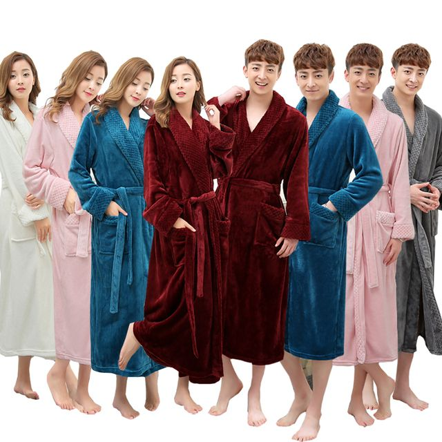 On Sale Super Soft Extra Long Men Women Warm Coral Flannel Bath Robe Mens Kimono Bathrobe Male Dressing Gown Lovers Winter Robes