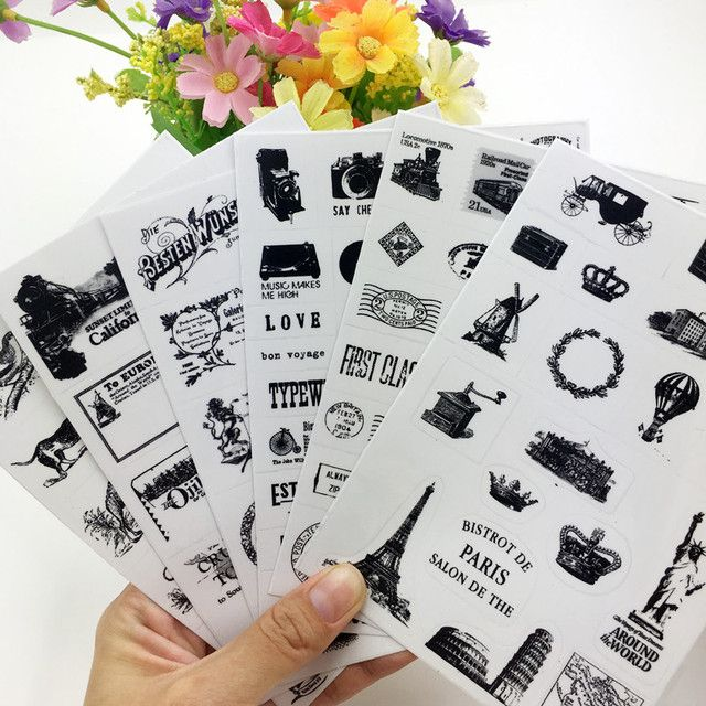 6sheets/set Retro seal pattern transparent diary decorative stickers Tower Hot Air Balloon black stamp stickers