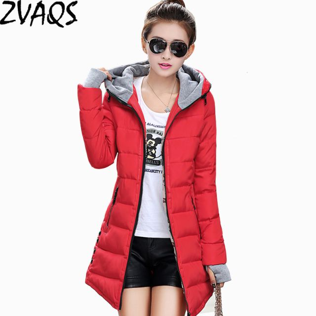2016 New Winter Jacket Coat Silm Women Down Cotton Coat Middle-Long Thicken Down Jacket Women Hooded Winter Park Women BL0185