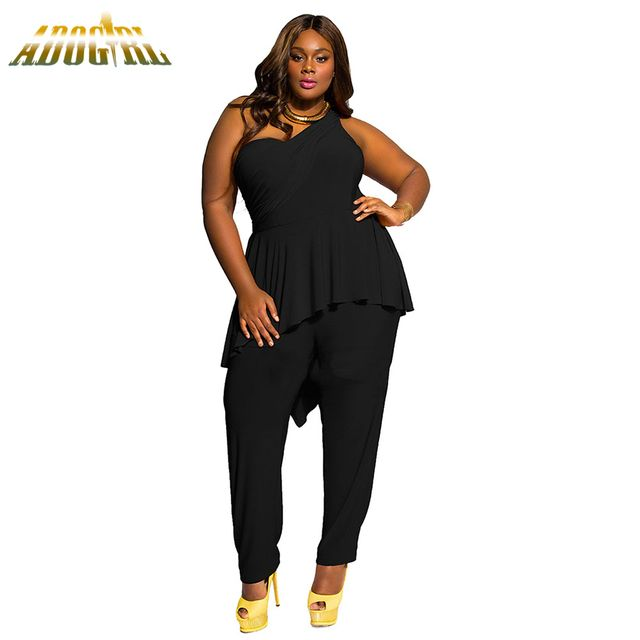 Plus Size M-2XL For Womens Jumpsuits Sexy Black One Shoulder Jumpsuit Elegant Women Summer Ruffles Long Romper Playsuit Overall