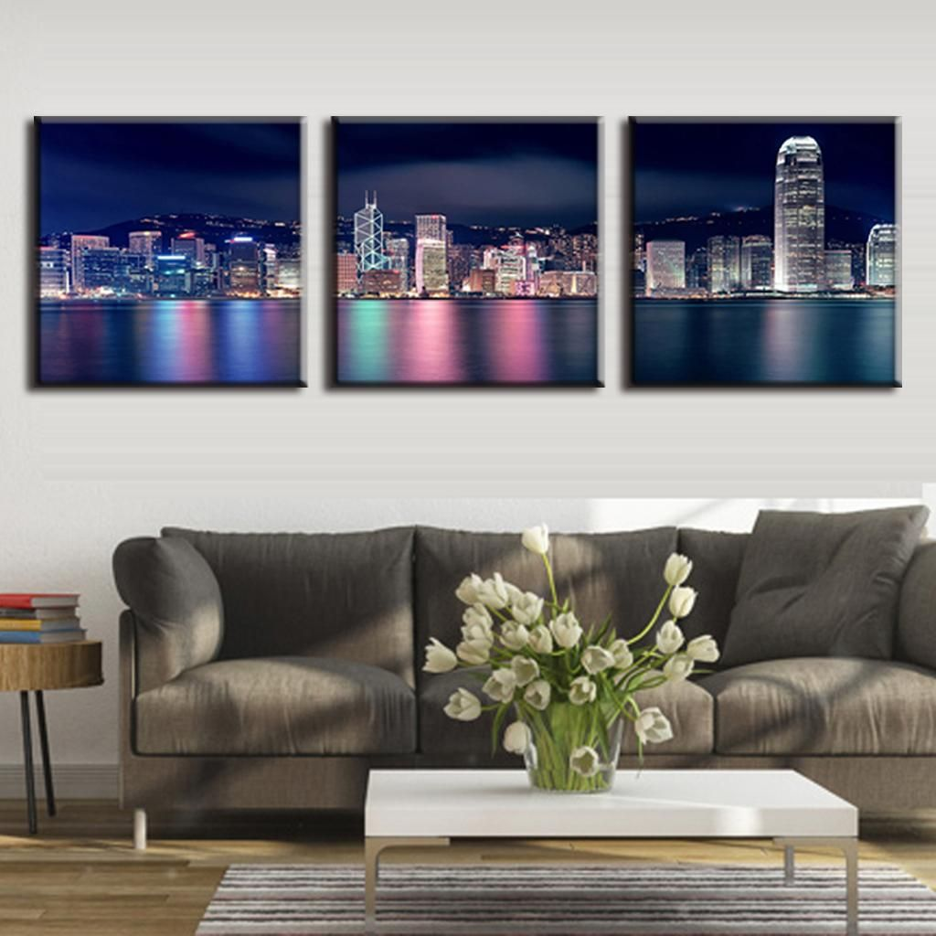 3 Pcs/Set Hong Kong City Night Sencery Wall Art Canvas Print Painting Modern Building Picture For Living Room Decorative