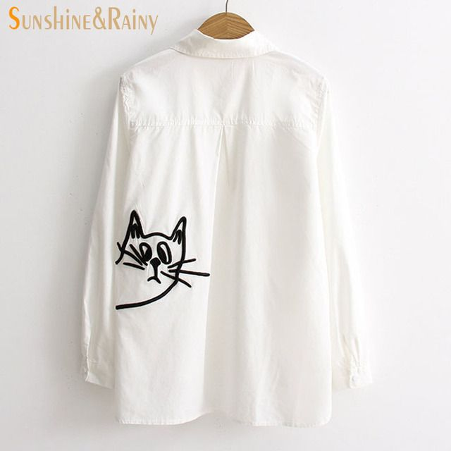 new women spring office shirts cat embroidery cotton blouse long-sleeved female OL white back pocket cat loose shirts white tops