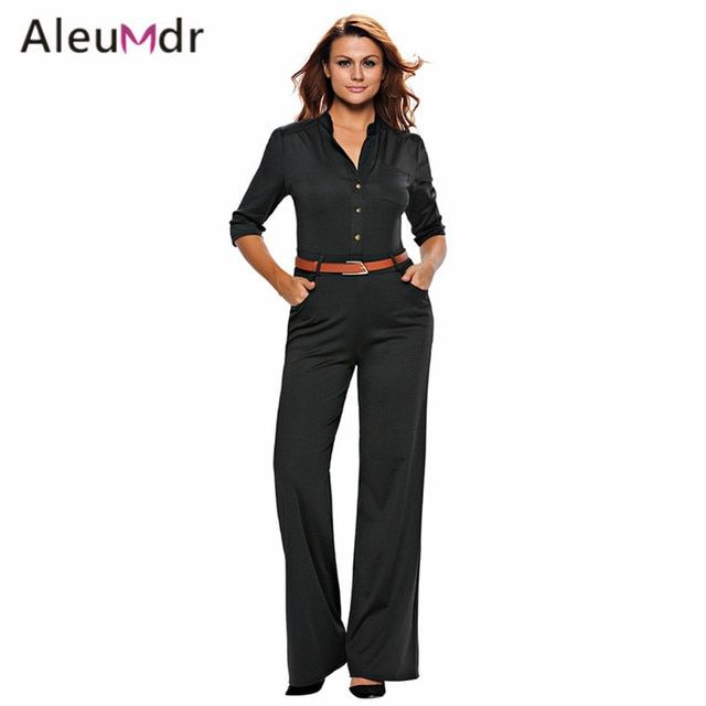 Aleumdr Ladies Half Sleeves Maxi Overalls Wide Leg Jumpsuits For Women Plus Size Macacao Long Pant LC64205 Combinaison Femme