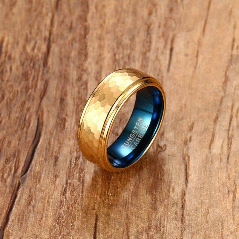 Fashion Mens Rings 8MM Blue Tungsten Carbide Gold-color Hammered Ring Men Wedding Engagement Band Gents Jewelry anel masculino