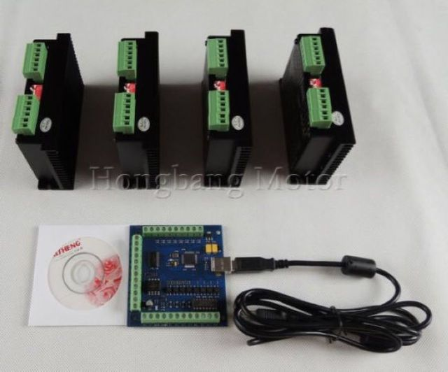 mach3 CNC usb 4 Axis Kit, 4pcs TB6600 single axis stepper motor driver + 1pcs mach3 4 axis usb motion card 100Khz 12-24V